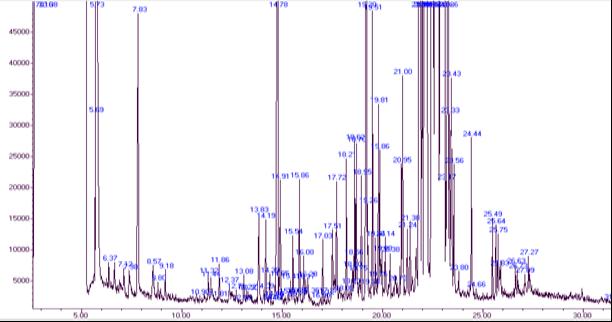 Хроматограмма разделения ацетилированных производных соединений после кислотного гидролиза экстракта растения Горец птичий (Polygonum aviculare L.)