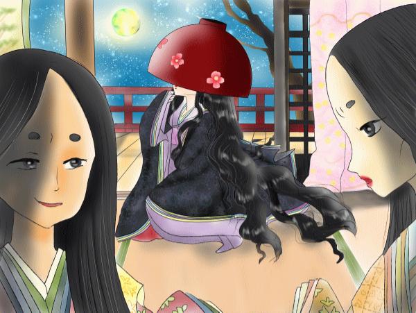 Иллюстрация к сказке «Девушке с чашей на голове». На первом плане мачеха и родная дочь, а на заднем — Хачикадзуки, главная героиня истории [22]