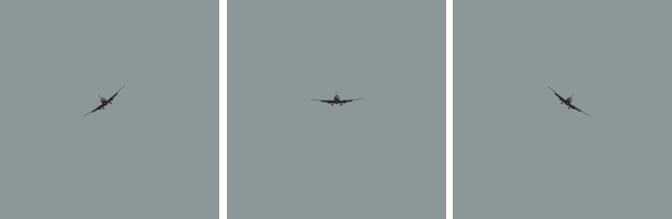 Изображения набора A1 100 с углами поворота –36, 0 и +36 градусов