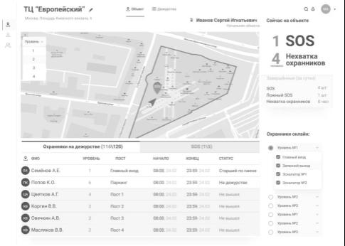 Образец интерфейса системы мониторинга и планирования работы сотрудников частных предприятий в охранной сфере