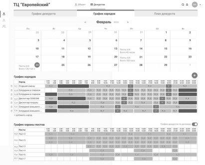 Образец интерфейса системы мониторинга и планирования работы сотрудников частных предприятий в охранной сфере. График дежурств