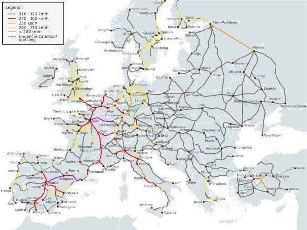 Карта железных дорог Европейского Союза