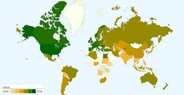 Описание: Daily caloric intake per capita, kcal. 2003.JPG