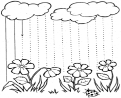 Развиваем графические навыки. Проведи, не отрывая руки от бумаги, прямые линии дождя