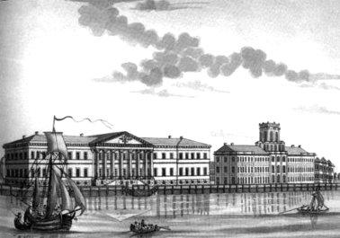 Здание Академии наук со стороны Невы_Ф_Дюрфельд_1792 мал