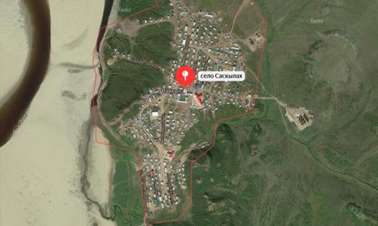 Спутниковый снимок села Саскылах