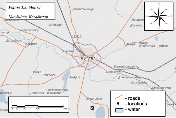 Map of Nur-Sultan, Kazakhstan (Europa Technologies, 2018)